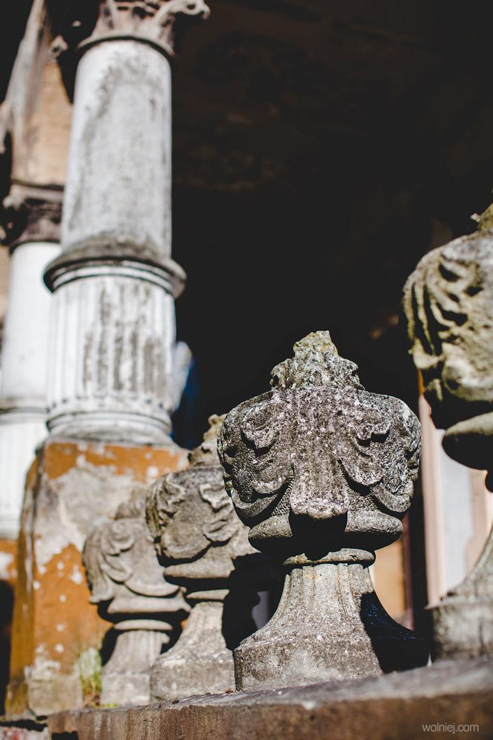 Kolumny przeg wejściem do Pałacu Targoszyn