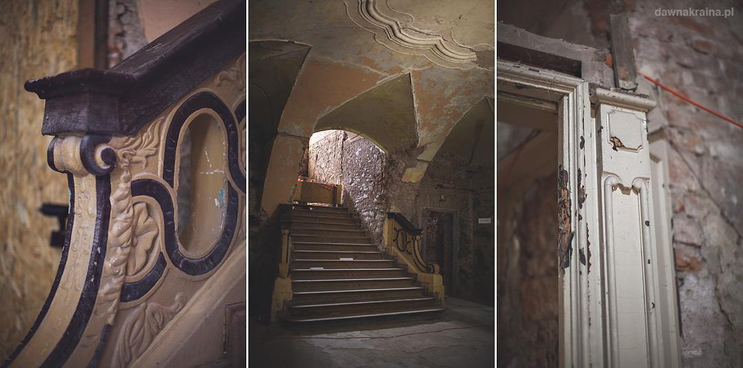 Elementy dekoracyjne na ścianach w Pałacu w Piszkowicach.