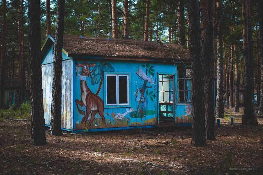 Kolorowe domy w obozie dla dzieci Szmaragd niedaleko Prypeci