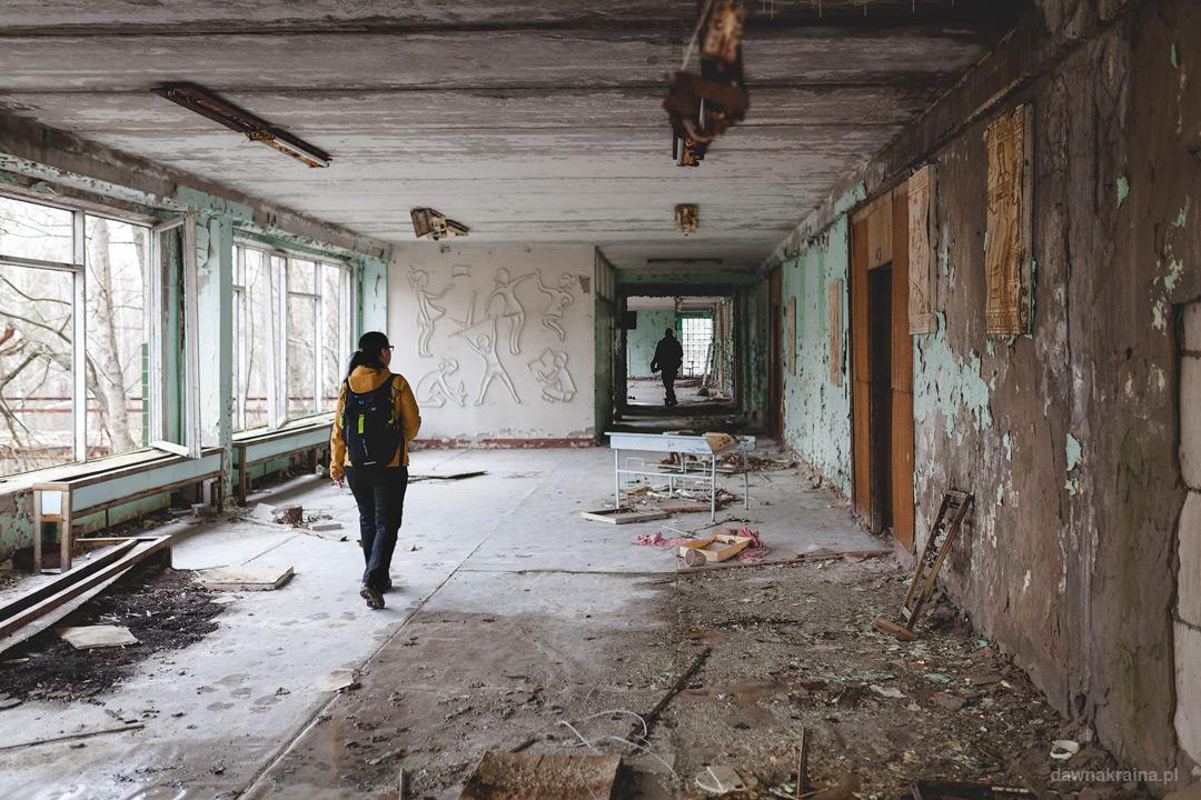 Korytarz szkoły podstawowej nr 2 w Prypeci.