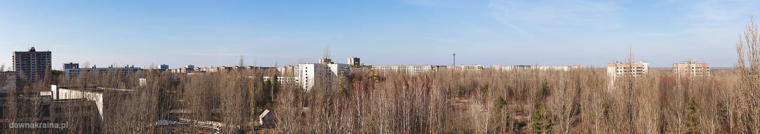 Widok na Prypeć z dachu hotelu Polesie