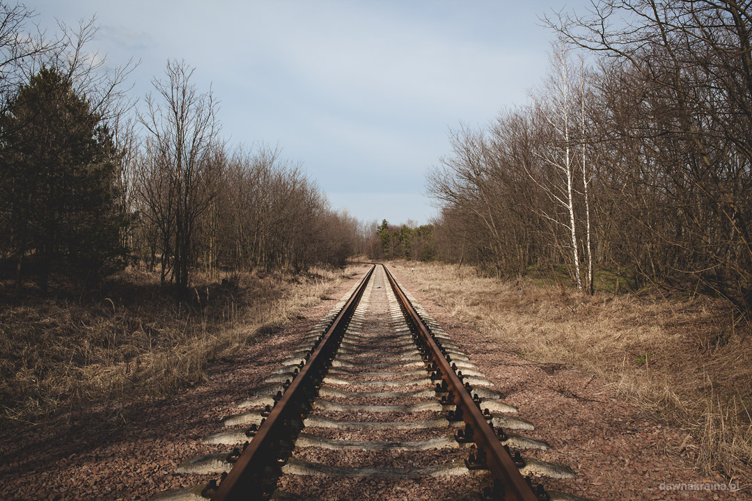 Tory kolejowe w pobliżu wieży chłodniczej w Czarnobylu.