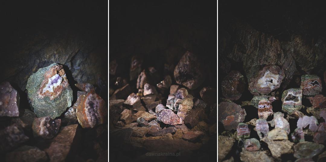 Minerały i agaty w kopalni uranu w Kowarach.