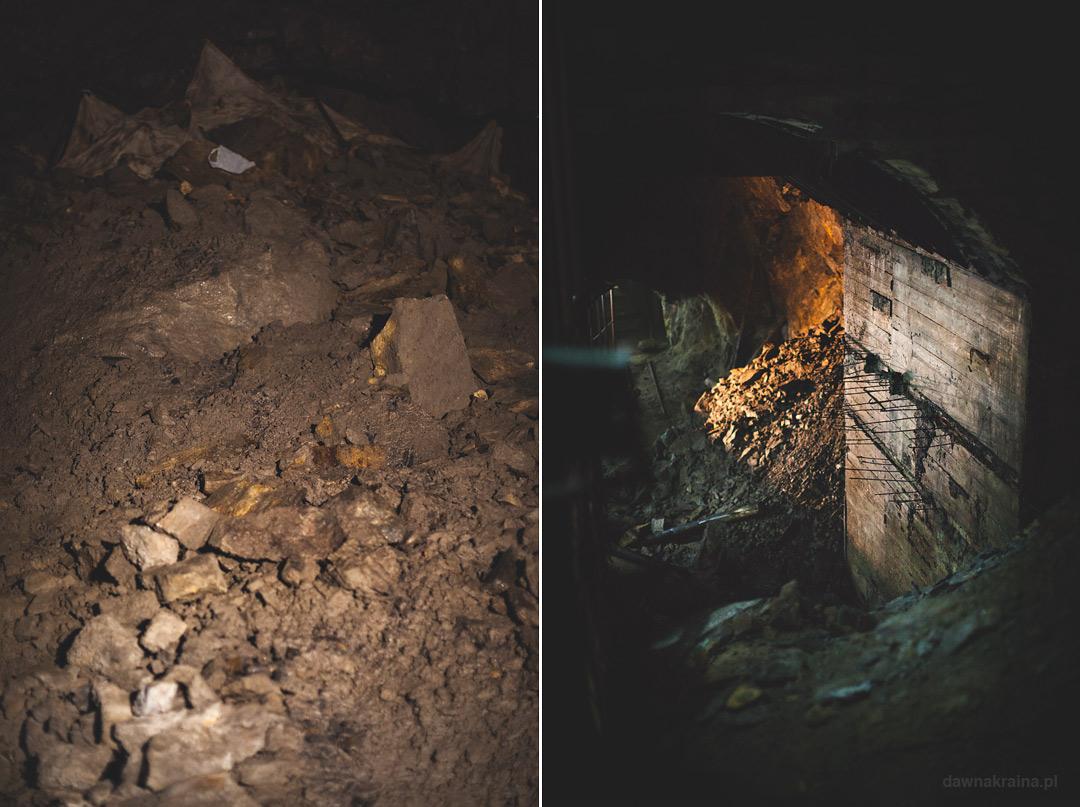 Zasypane przejścia i niedokończone ściany w kompleksie Rzeczka. Wizyta w kompleksie Rzeczka w Walimiu.