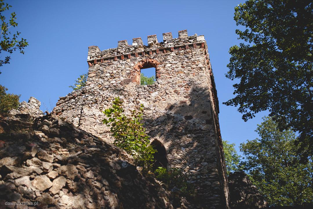 Wieża i cześć ruin zameu Lipa